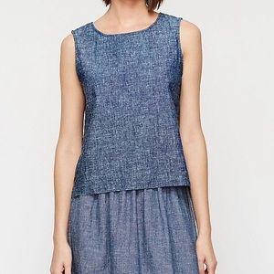 Eileen Fisher Chambray Hemp Cotton Sleeveless Top